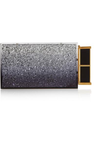Tom Ford Lipstick Glitter-Finished Plexiglas® Clutch In Silver