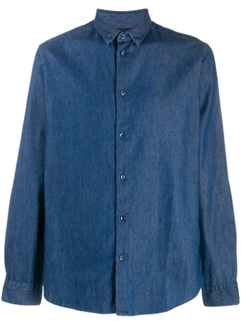 Natural Selection Button Denim Shirt In Blue