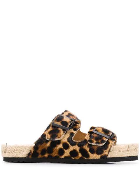 Manebi Leopard-print Sandals In Neutrals