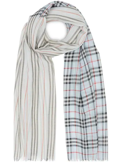Burberry Icon Stripe And Vintage Check Wool Silk Scarf In Blue