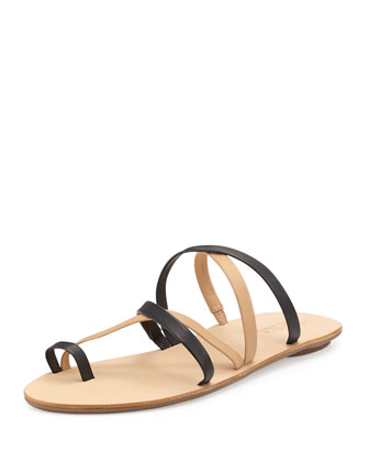 Loeffler Randall Sarie Strappy Leather Sandal In Black/Buff