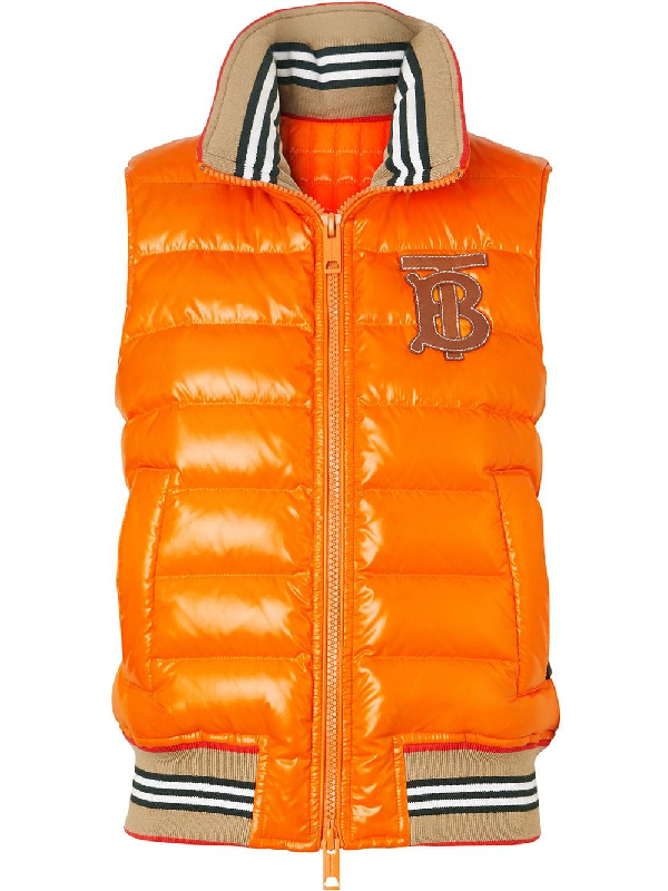 Burberry Icon Stripe Detail Down-Filled Puffer Gilet In Orange