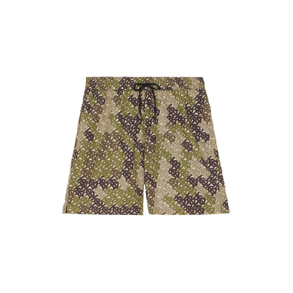 d69400c5f Burberry Monogram Print Drawcord Swim Shorts In Khaki Green Ip Pat