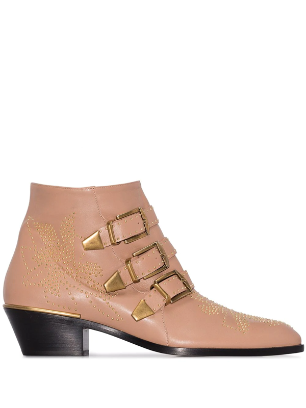Chloé Beige Susanna Buckle 30 Leather Ankle Boots In Neutrals
