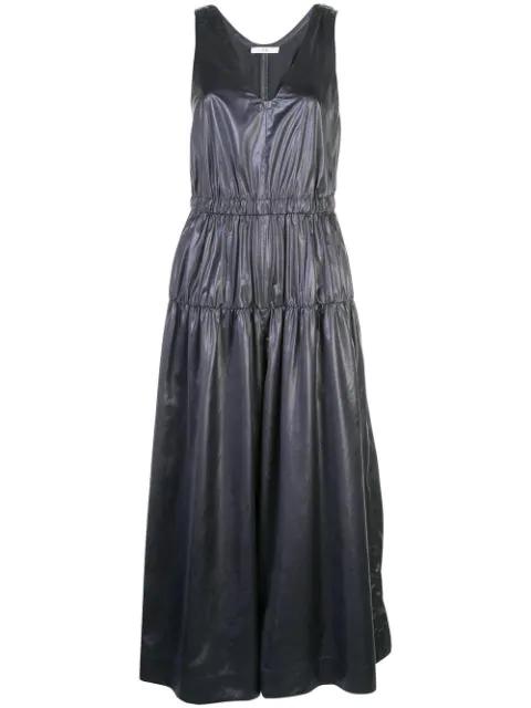 Tibi Sleeveless Shirred Culotte Jumpsuit In Pearl Black