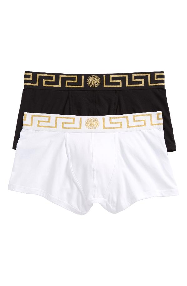 2017b6922e Versace Men's Greek Keys Low-Rise Trunks In Black/ White/ Gold ...