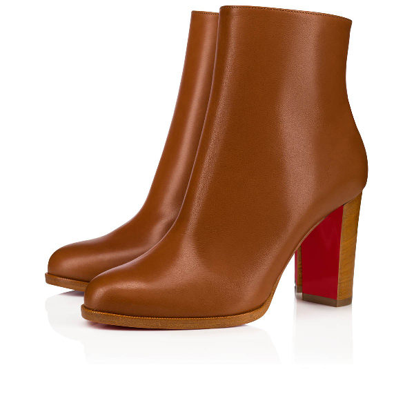 Christian Louboutin Adox Leather Block-Heel Red Sole Boots In Caramel