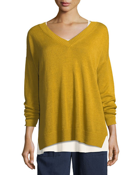 Eileen Fisher Linen Knit V-Neck Top In Mustard Seed
