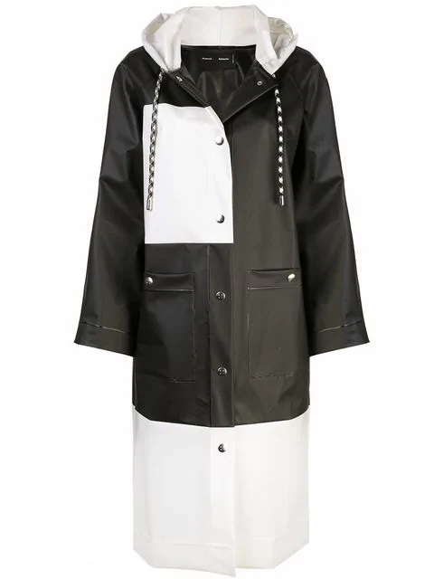 Proenza Schouler Pswl Colorblocked Long Raincoat In Black