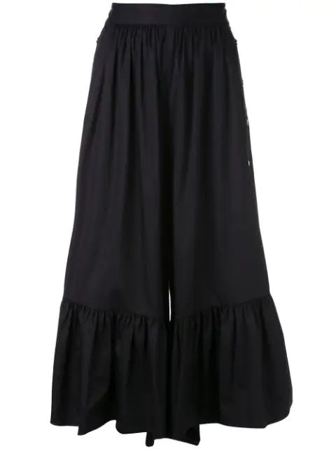 Tibi Cotton Poplin Culottes In Black