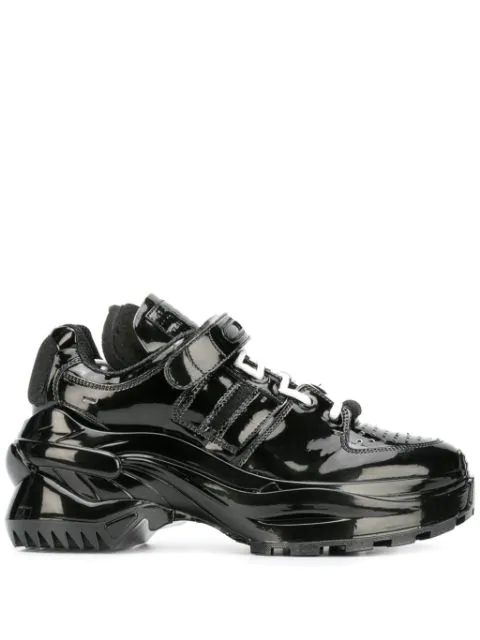 Maison Margiela Retro Fit Patent Leather Sneakers In Black In T8013 Black