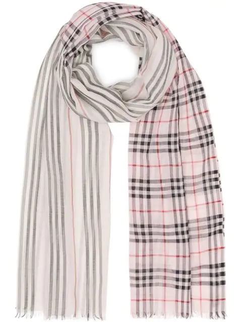 Burberry Icon Stripe And Vintage Check Wool Silk Scarf In Pink
