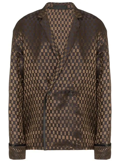 Haider Ackermann Cara Checked Double-breasted Linen And Silk-blend Jacket In Brown+binding Black