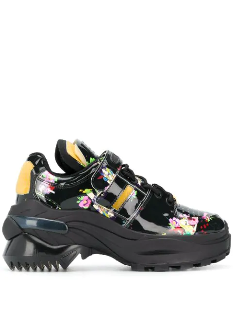 Maison Margiela Retro Fit Kawaii-print Patent-leather Trainers In Black