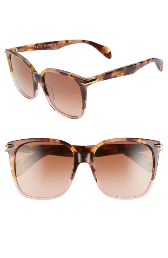 Rag & Bone 56mm Gradient Square Sunglasses In Brown Havana/ Pink