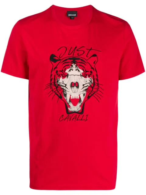 Just Cavalli Embroidered Tiger Skull Graphic Tee In Red