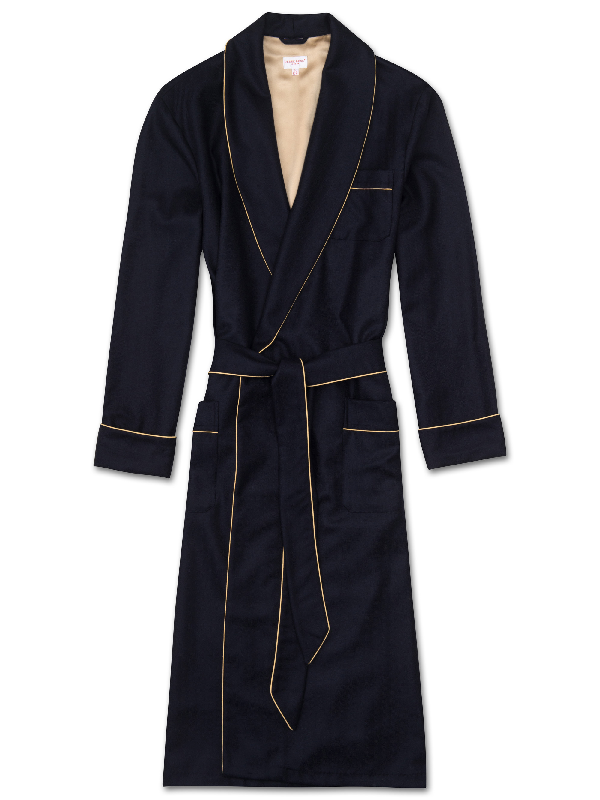 Derek Rose Duke Silk-Trimmed Herringbone Cashmere Robe In Navy
