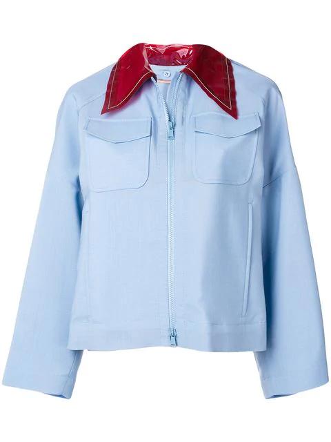 N°21 Nº21 Transparent Contrast Collar Shirt Jacket - Blue