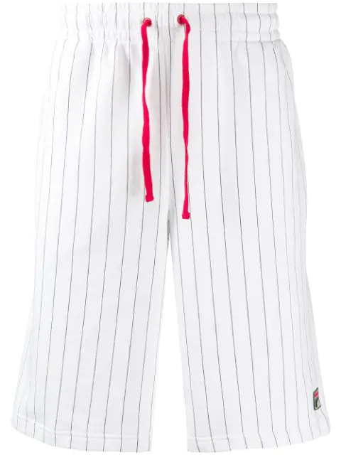 Fila Pinstriped Short Joggers In White