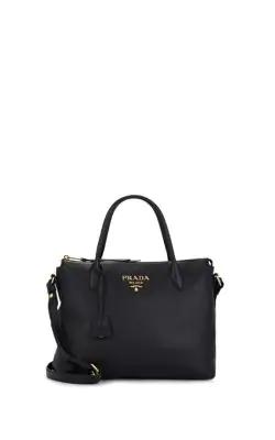 Prada Daino Small Leather Shoulder Bag - Black