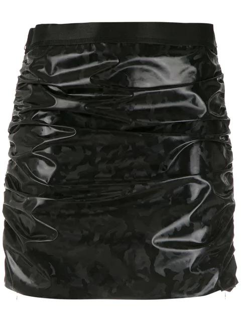 À La Garçonne Rubber Camo Skirt In Black