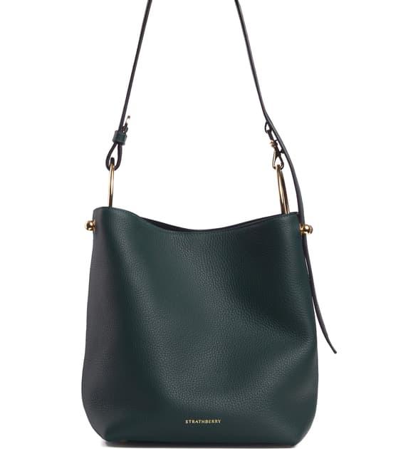 Strathberry Midi Lana Leather Bucket Bag In Bottle Green