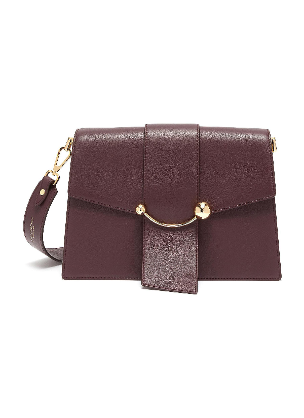 Strathberry 'Crescent' Arc Bar Leather Shoulder Bag In Burgundy