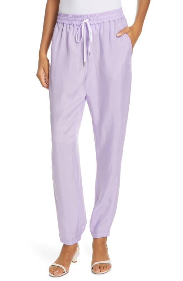 Tibi Drawstring Jogger Pants In Lavender