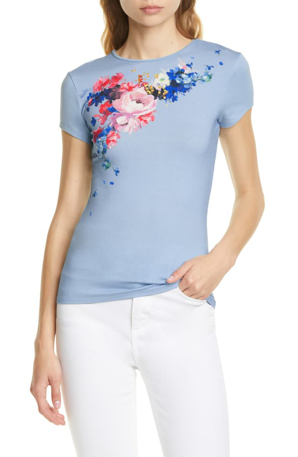 Ted Baker Raspberry Ripple Fitted Tee In Light Blue