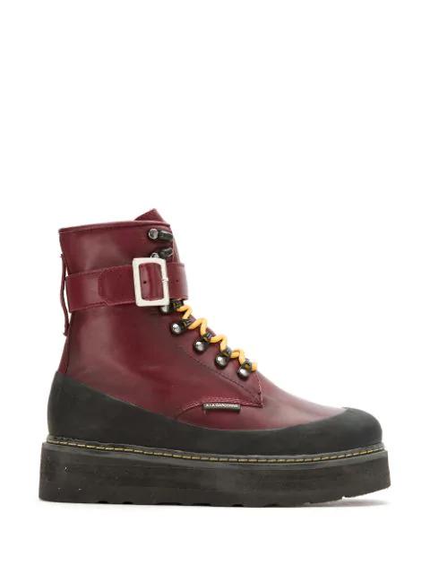 À La GarÇOnne Leather Combat Boots In Vermelho
