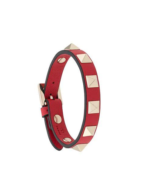 Valentino Gavarani Rockstud Bracelet In Red