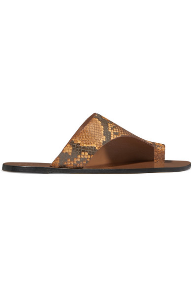 Atp Atelier Rosa Cutout Snake-Effect Leather Sandals In Snake Print