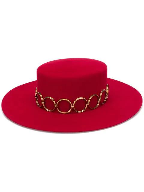 Saint Laurent Andalusian Felt Hat In Red