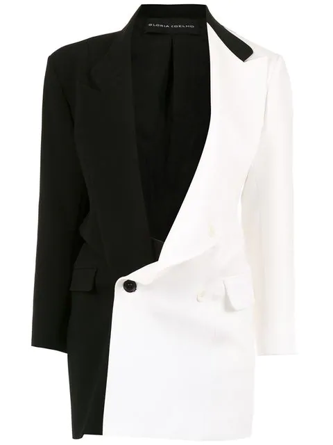Gloria Coelho Zweifarbiger Oversized-blazer - Schwarz In Black