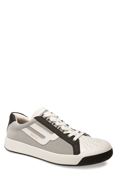 Bally Men's New Competition Mesh & Leather Sneakers In White/ Grey