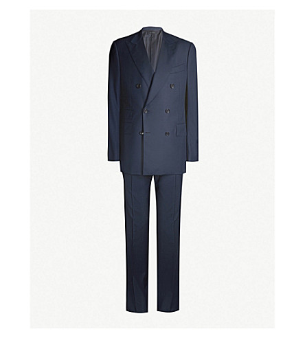 Tom Ford Double-Breasted Shelton-Fit Wool Suit In Navy
