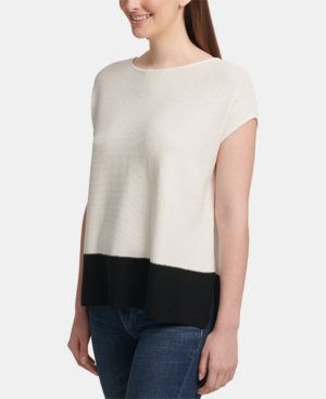 Dkny Colorblock Cap-Sleeve Top In White