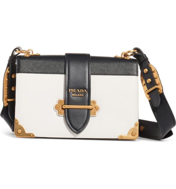Prada Large Cahier Leather Crossbody Bag - White In Bianco/ Nero