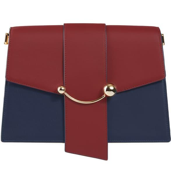 Strathberry Crescent Tri-color Leather Shoulder Bag In Navy/ Sand/ Ember