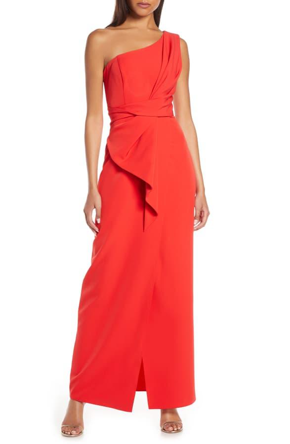 Eliza J One-shoulder Laguna Crepe Evening Gown In Red