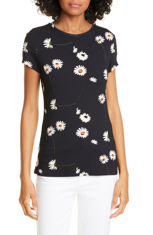 Ted Baker Daisy Print Fitted Tee In Dk-Blue