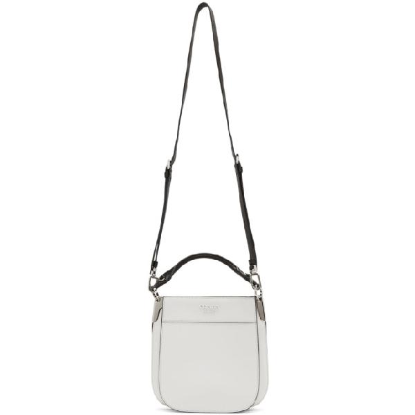 Prada Small City Leather Hobo Bag - White In Bianco/ Nero