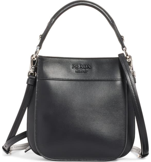 Prada Small City Leather Hobo Bag - Black In Nero