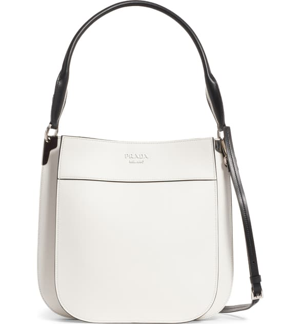Prada Medium City Leather Hobo Bag - White In Bianco/ Nero