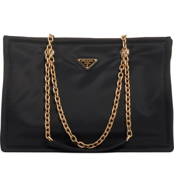 Prada Tessuto Chain Shopper Tote Bag In Nero