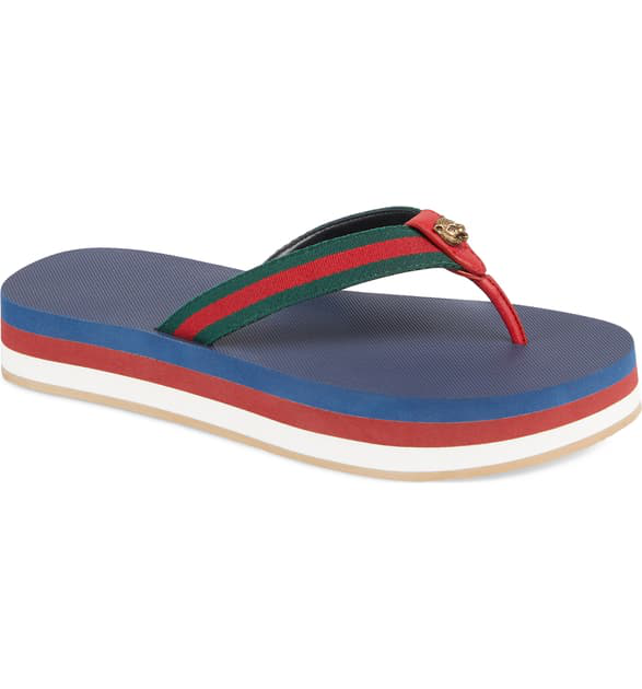 Gucci New Bedlam Flip Flop In Blue/ Red