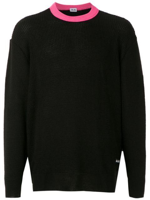 ÀLg Contrast Collar Rib Jumper - Black