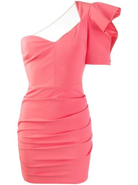 Elisabetta Franchi One Shoulder Mini Dress In Pink