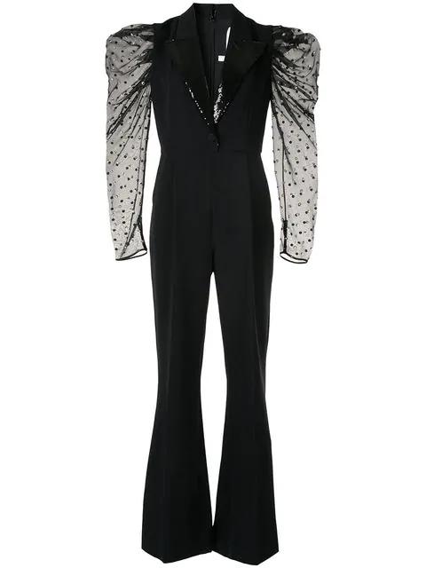 Ingie Paris Puff-sleeve Jumpsuit In Black