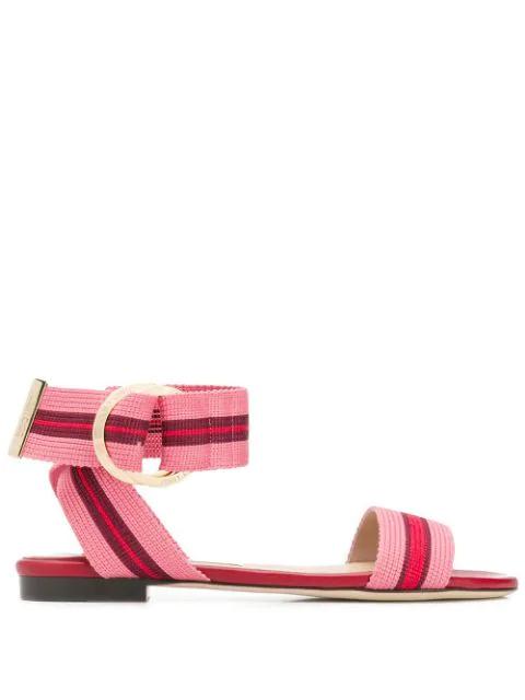 Jimmy Choo Breanne Flat Sandals In 红色